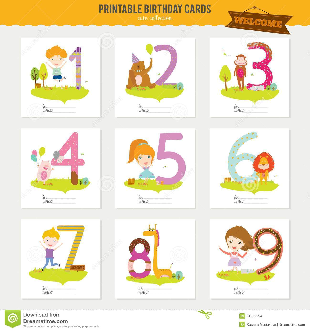 Birthday Anniversary Numbers With Cute Animals And Stock