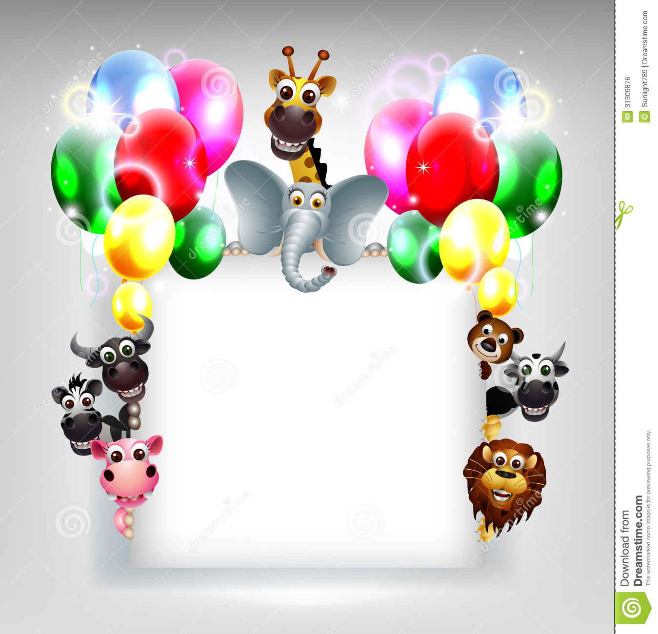 Hd Blank Birthday Background : ... of birthday background with balloon and animal safari on blank sign