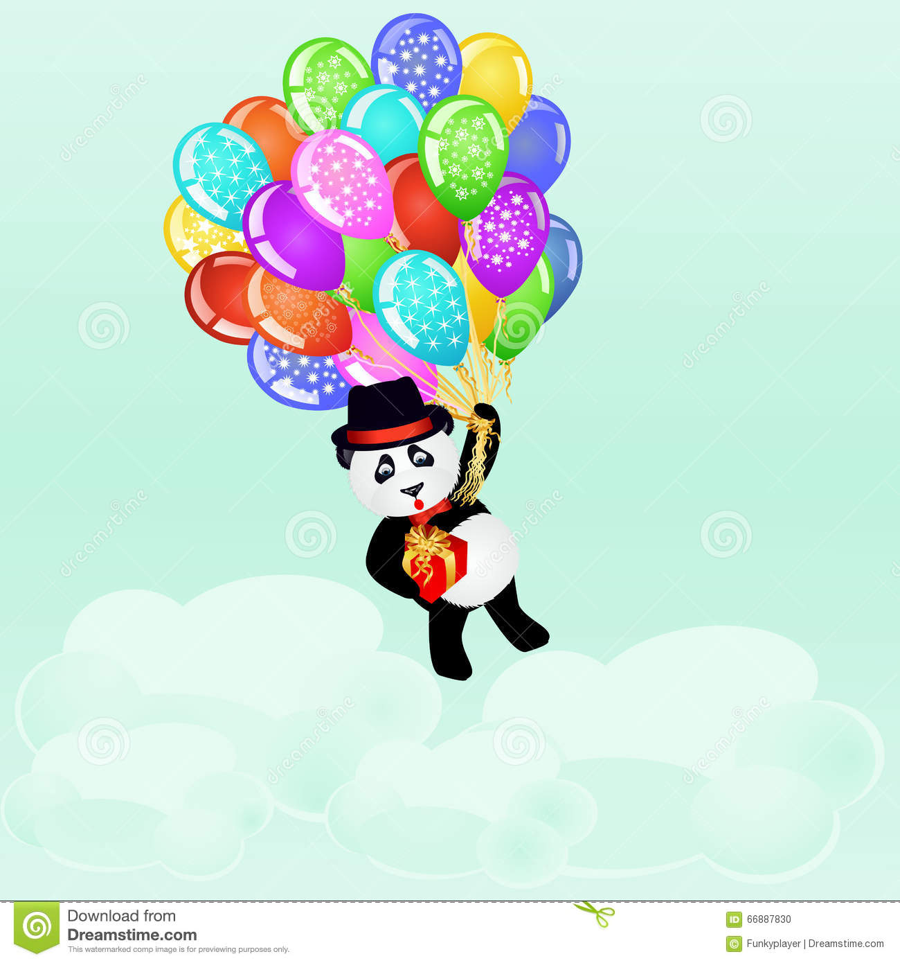 Birthday Background With Cartoon Panda Flying With
