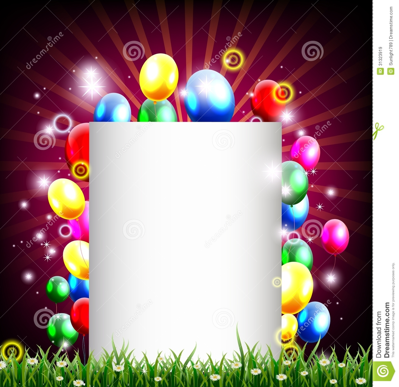 Birthday Background With Place For Text And Grass ...