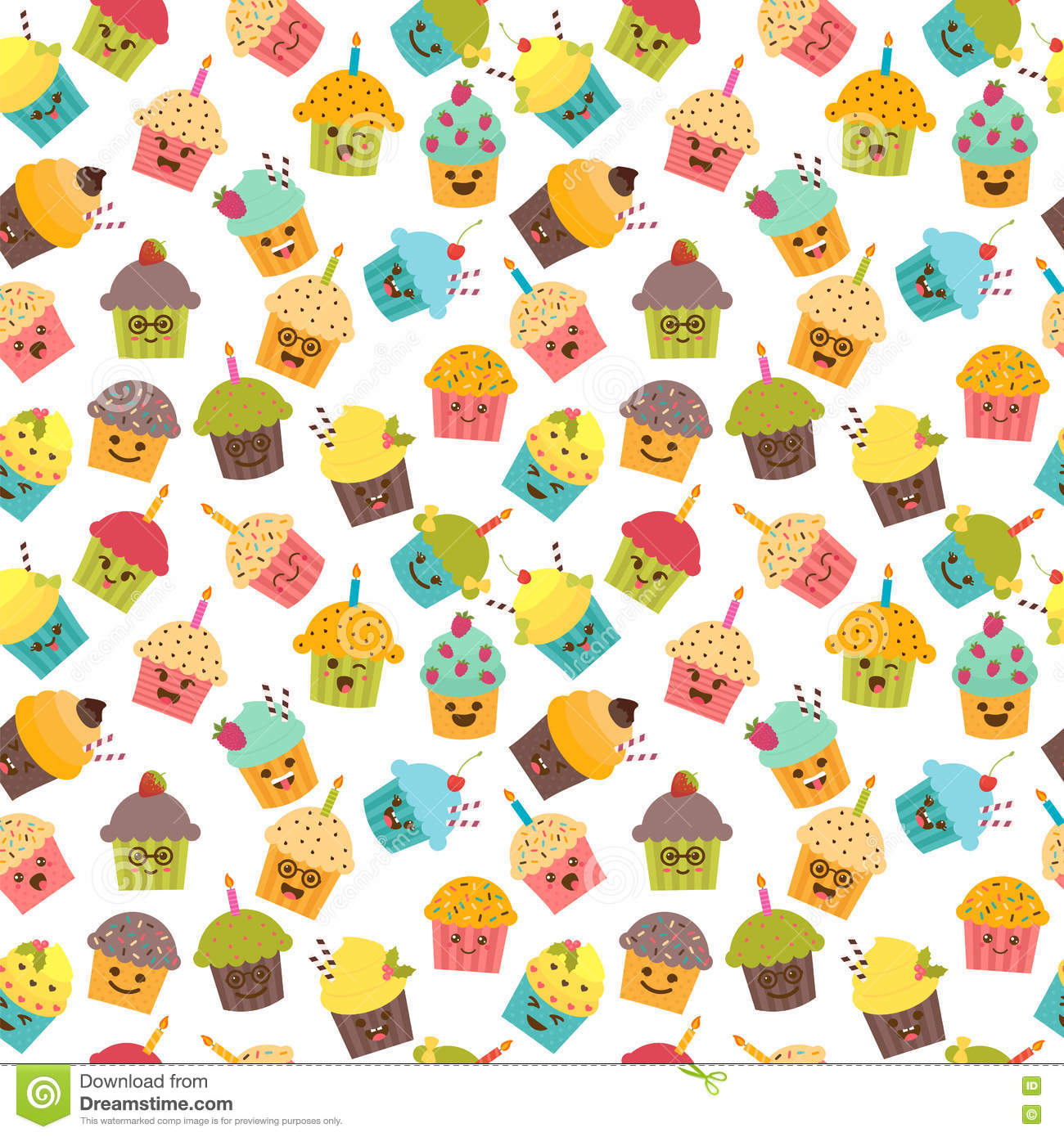 Birthday Background Seamless Pattern With Cupcakes And Muffins