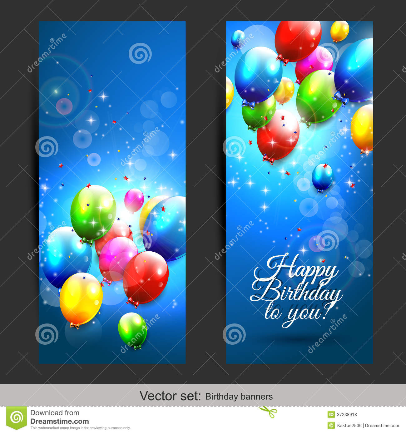 Birthday Balloons Banners Royalty Free Stock Photos - Image: 37238918
