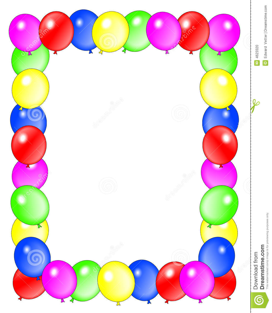 Birthday Balloons Border Frame Stock Illustration - Illustration of ...