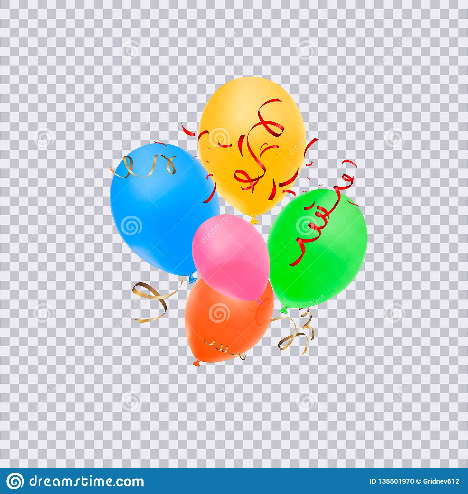 Birthday Balloons With Confetti Isolated On Transparent Background
