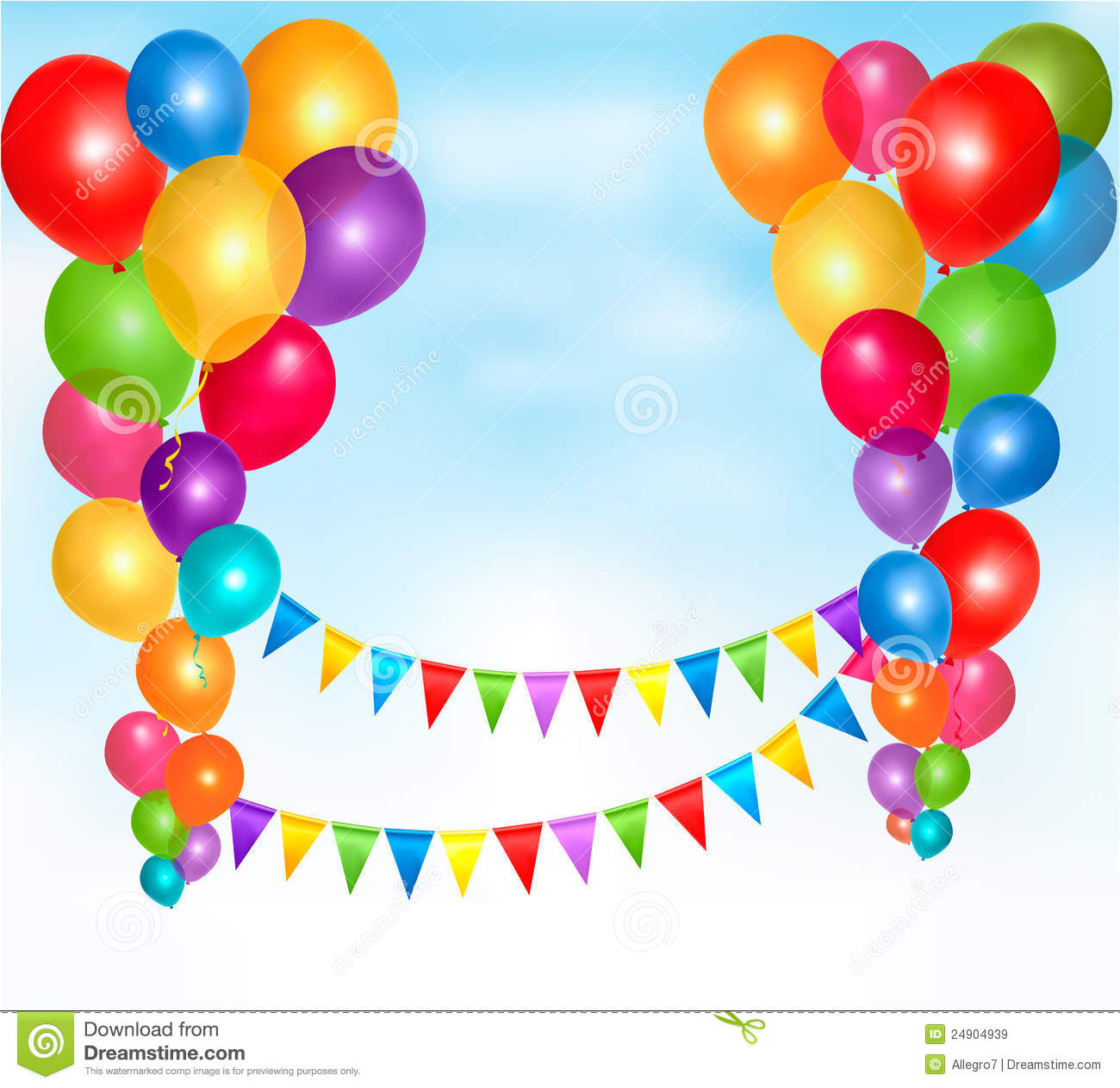 Birthday Balloons Frame Composition Royalty Free Stock
