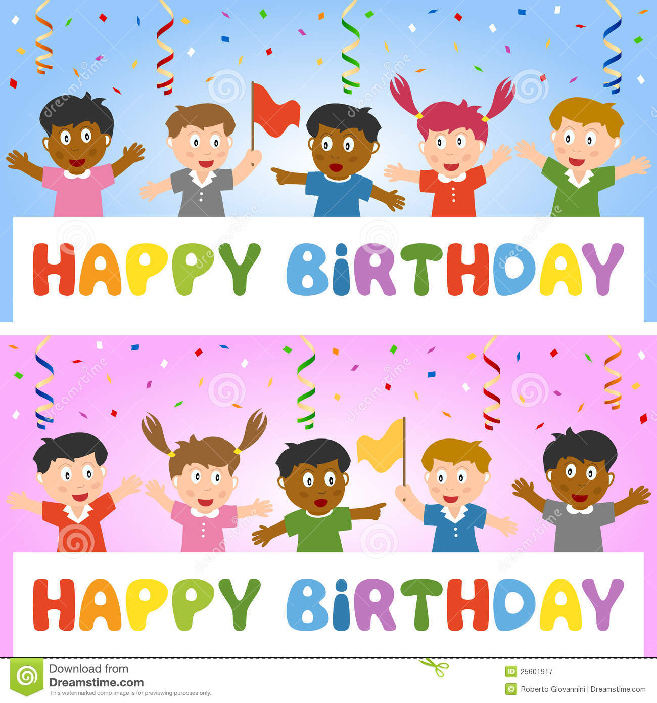 birthday banner with kids stock vector illustration of event 25601917