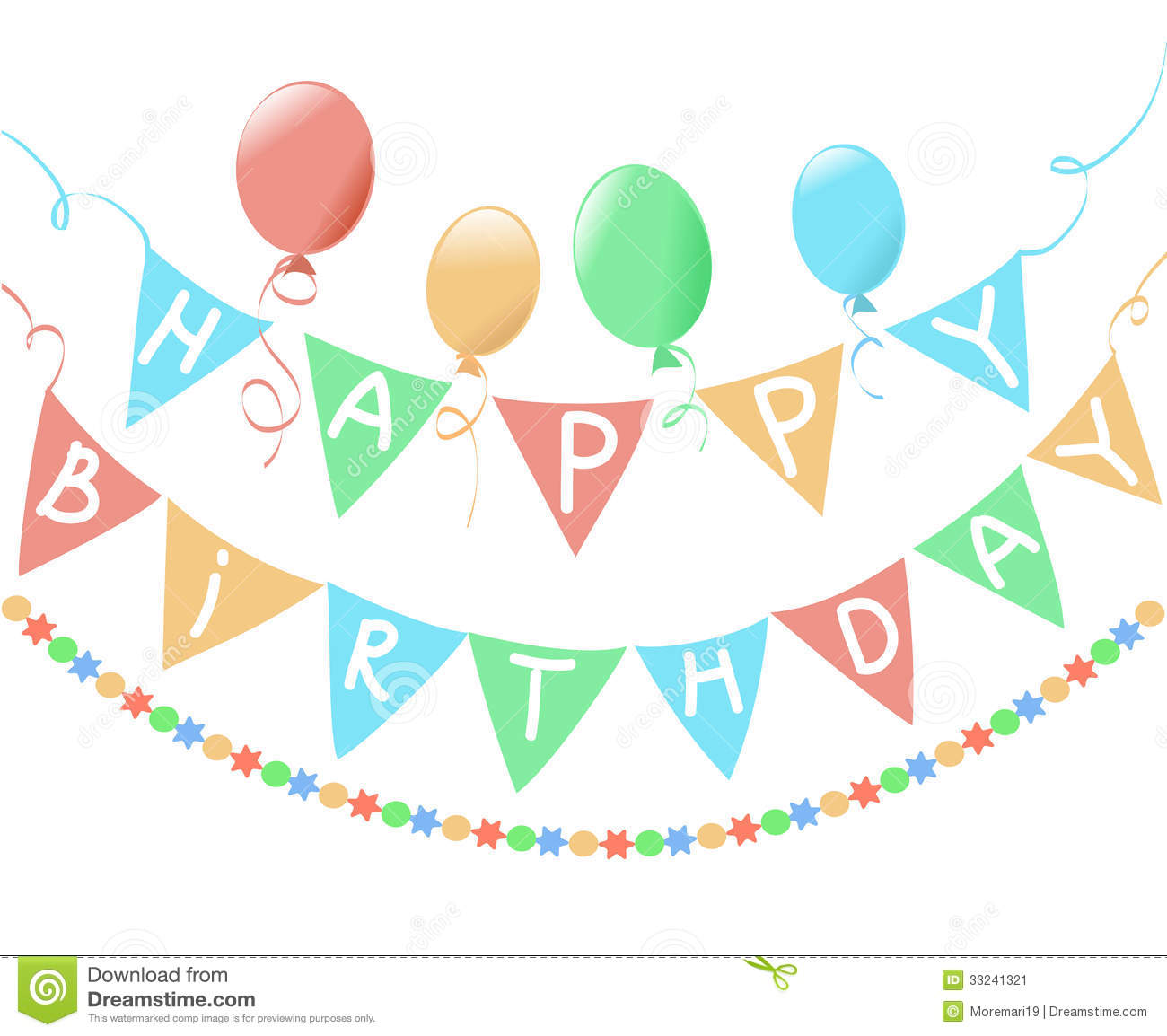 Birthday, A Banner On A White Background Stock Vector