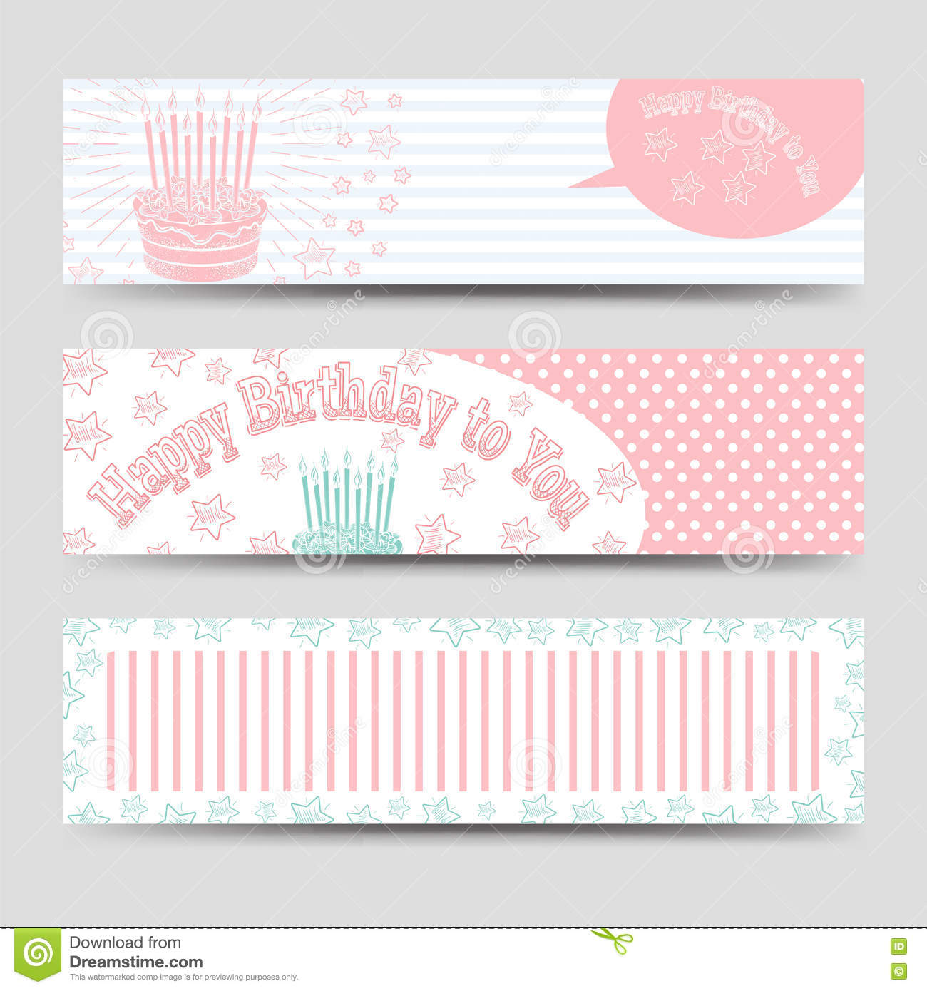 birthday banners template with cake stock vector illustration of