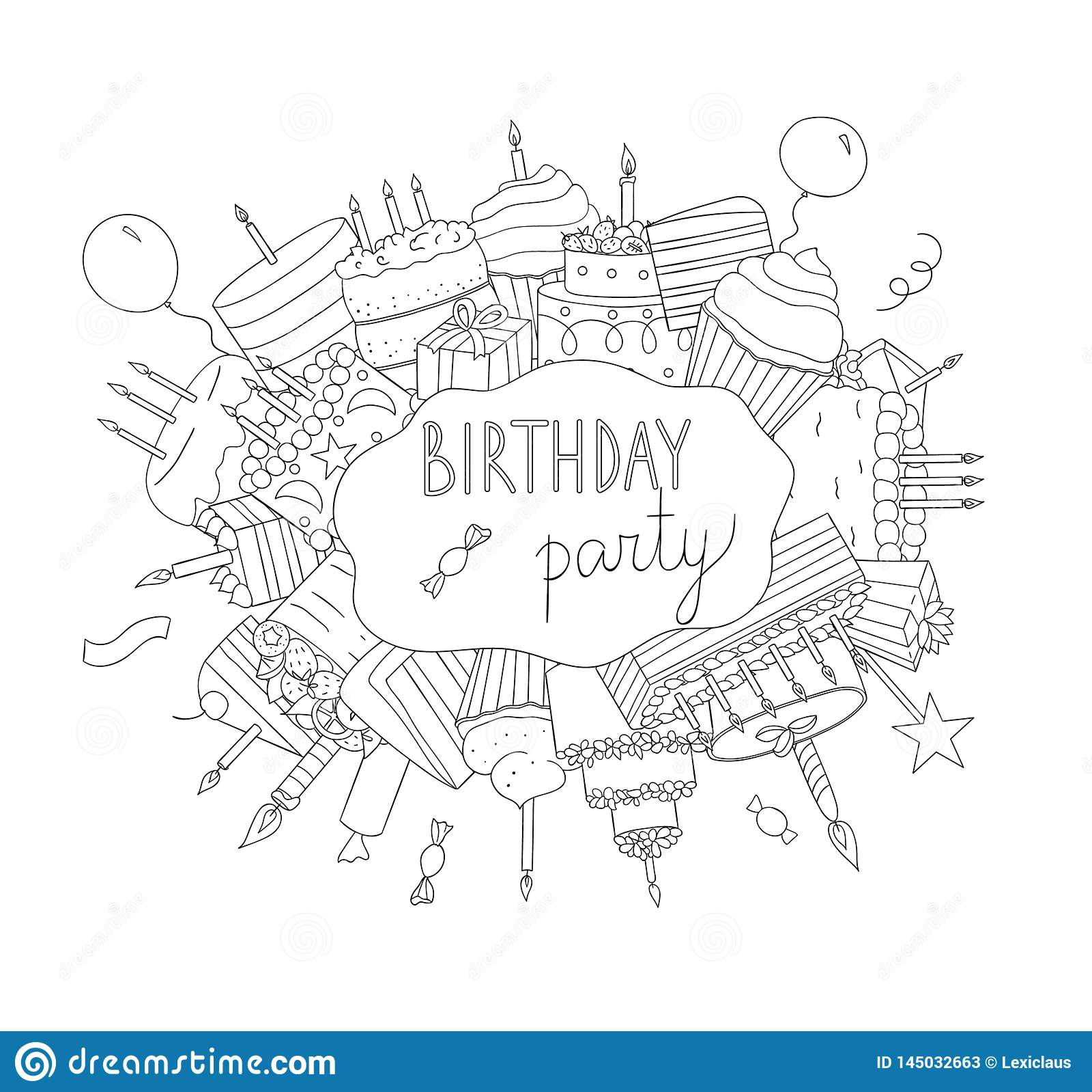Birthday black and white elements
