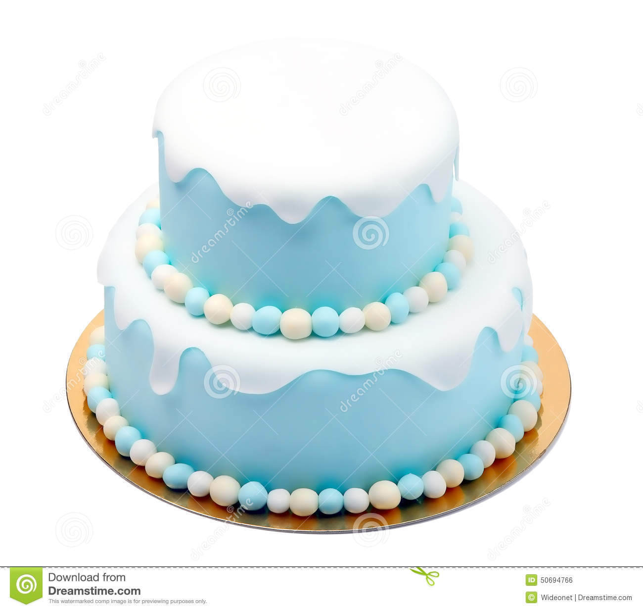 Birthday Blue Cake With Mini Balls Isolated On White