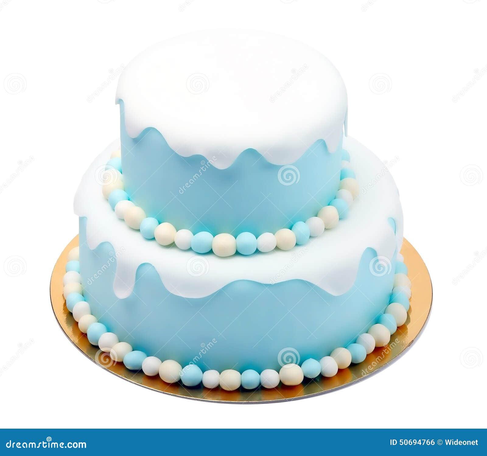 Birthday Blue Cake With Mini Balls Isolated On White Background Stock Photo