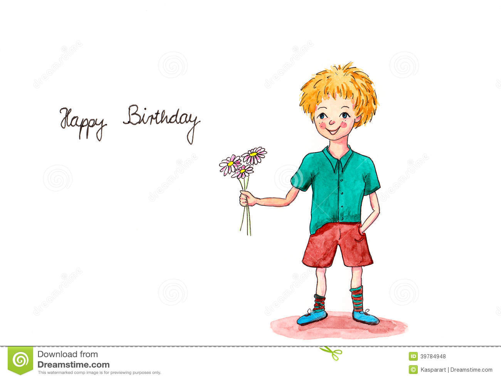 Birthday Boy Watercolor Greeting Card Illustration Image – Text Birthday Card