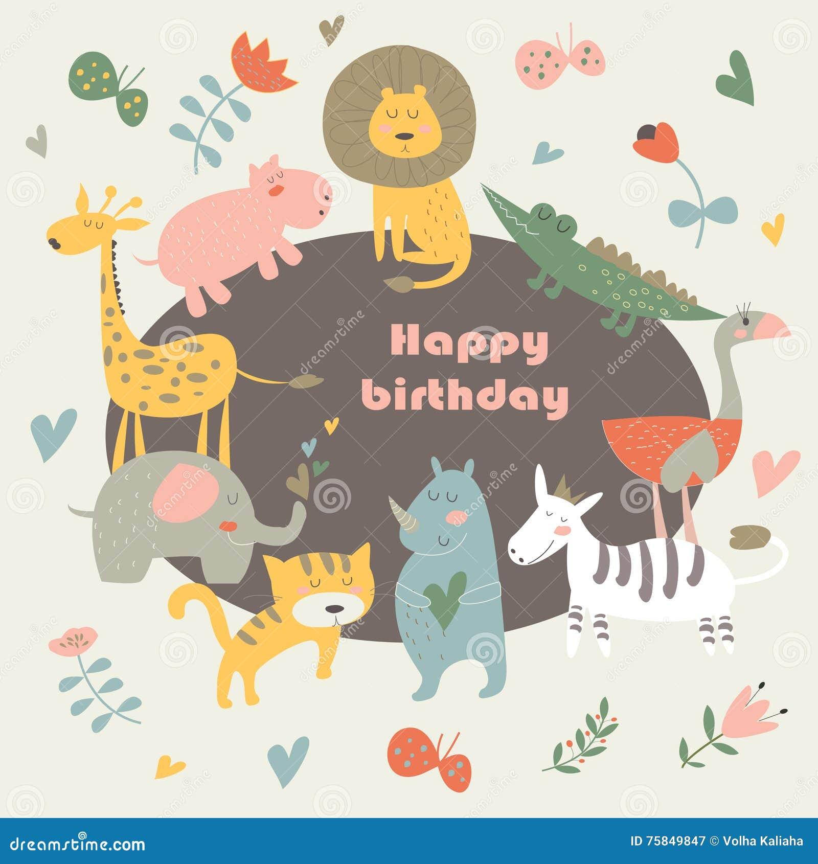 Birthday Card With Africa Animals Cute Alligator Tiger Lion Elephant Rhino Hippo Ostrich And Zebra In Cartoon Style