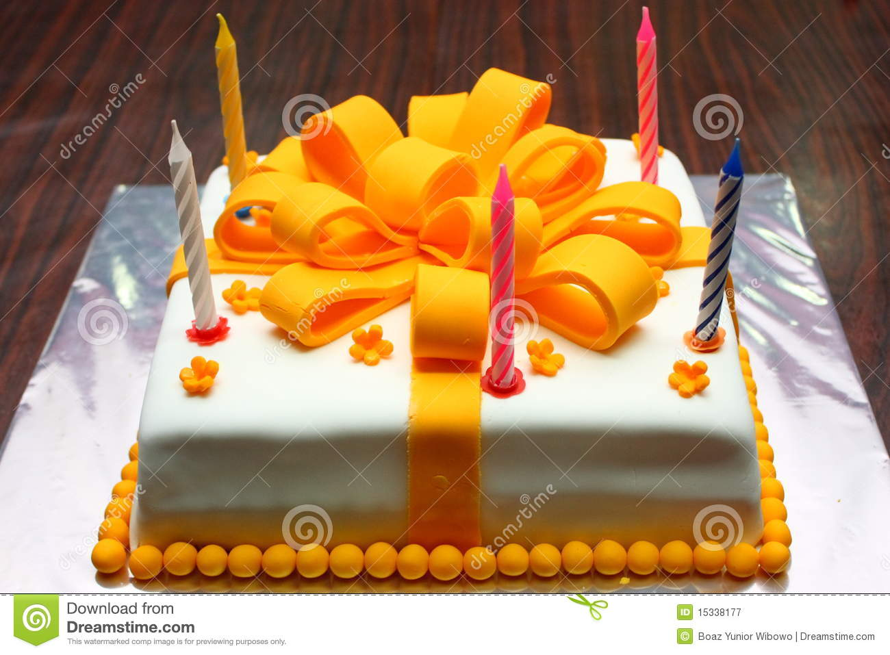 Birthday Cake White Orange With Candles Royalty Free Stock Photography