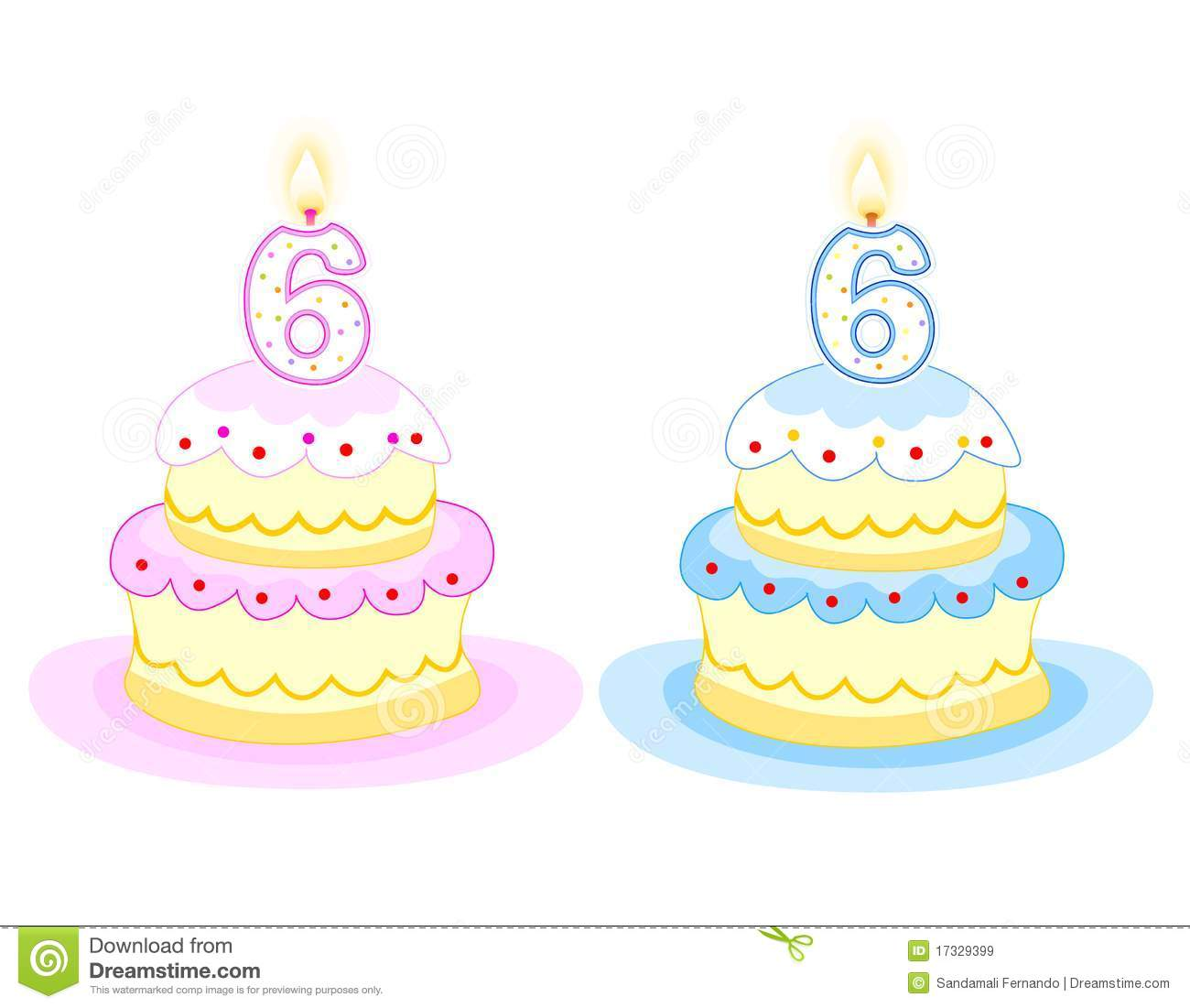 Pink And Blue Birthday Cakes With Number Six Candle Isolated On White Background