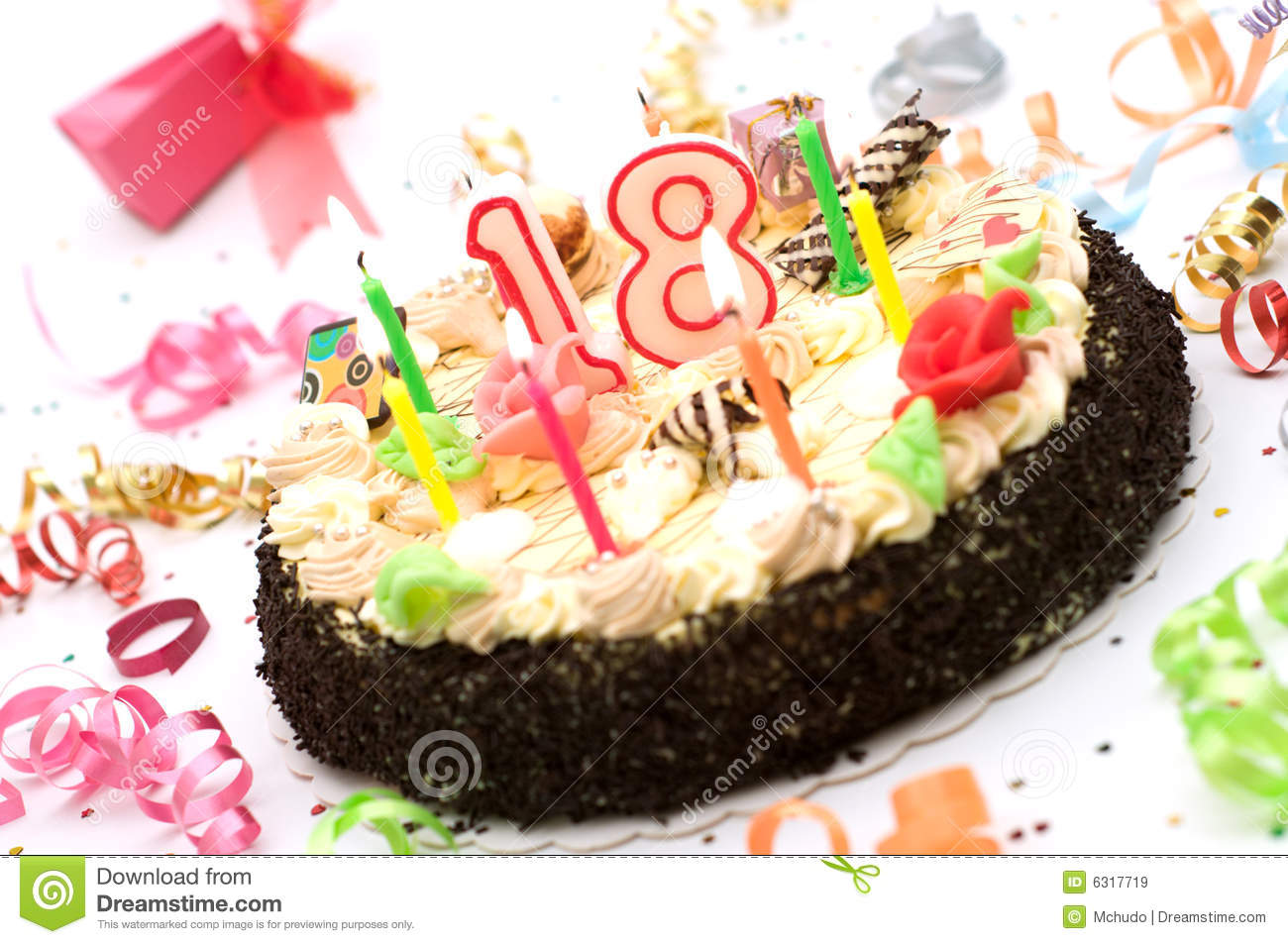 Birthday Cake For 18 Years Jubilee Royalty Free Stock