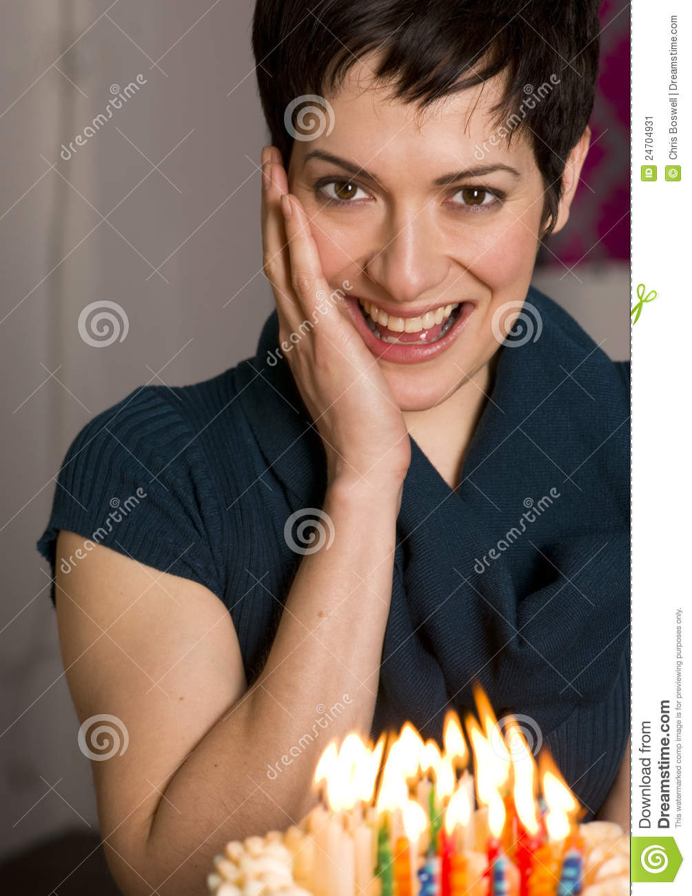 Attractive Woman Excited For Party Birthday Cake