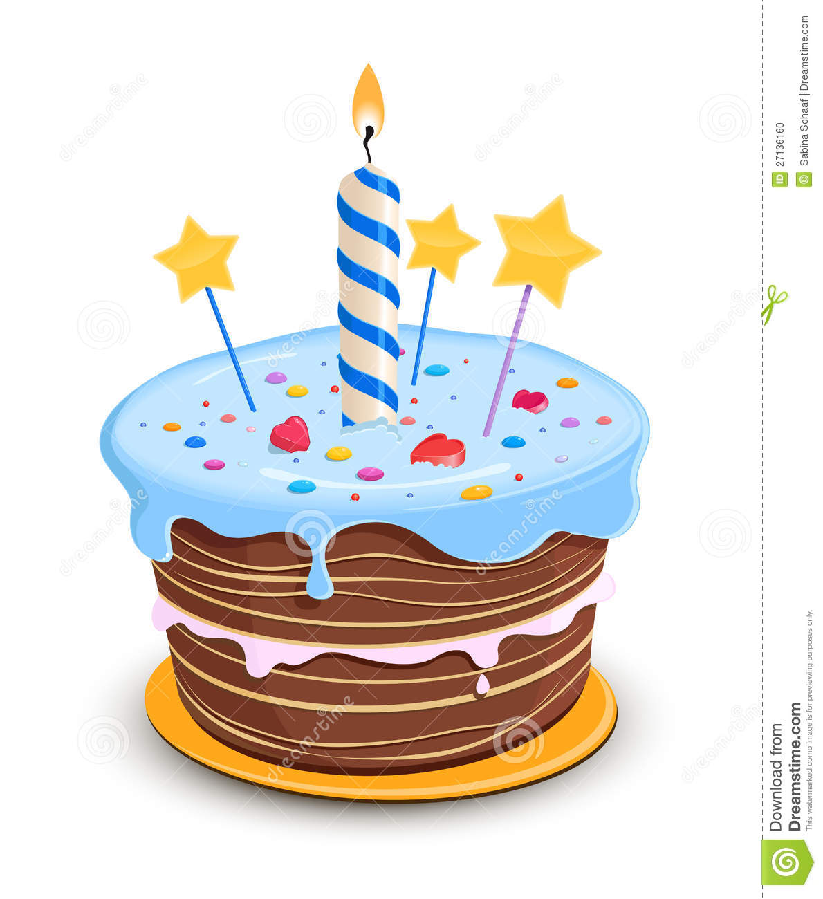 Birthday cake stock vector. Illustration of star ...