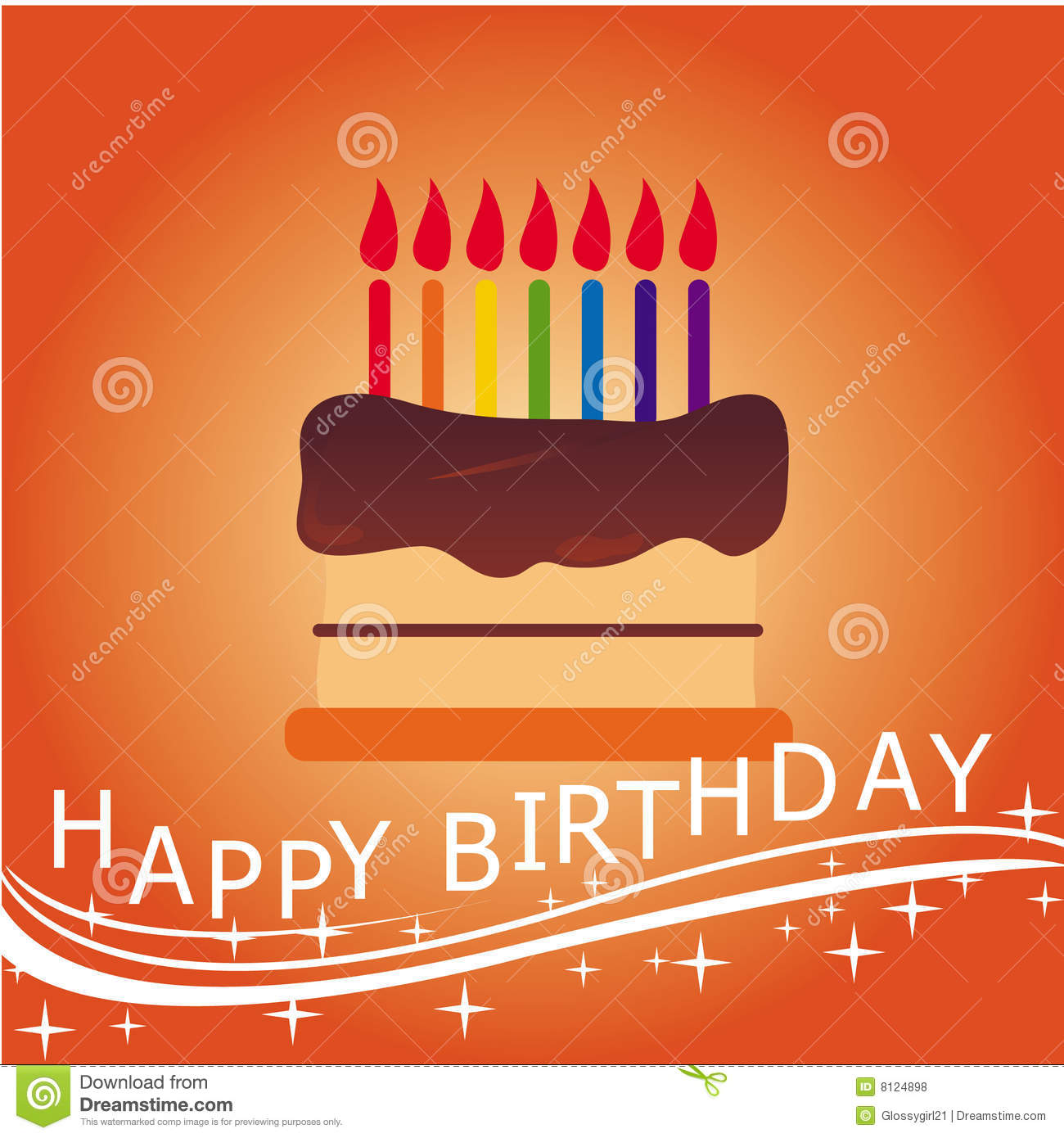 A Birthday Cake With Lighted Candles Happy Text And Swirls Sparkles Elements