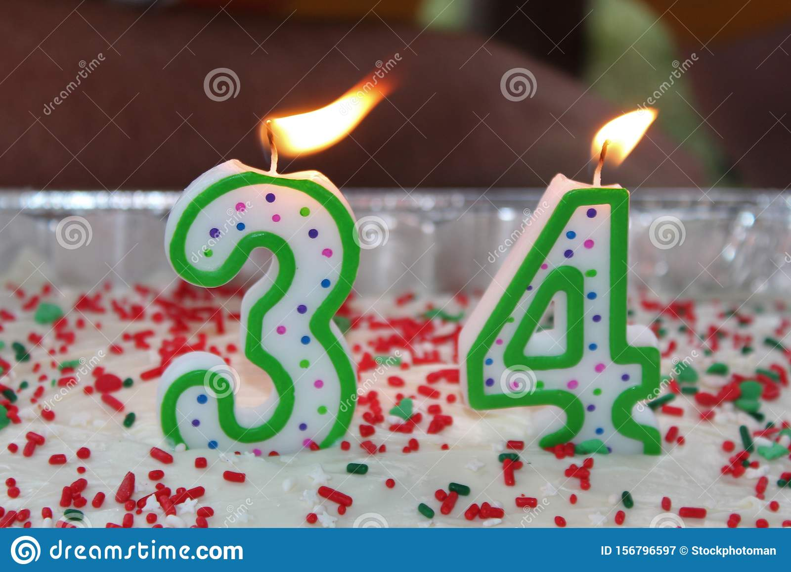 Stupendous Birthday Cake In An Aluminum Pan With A 34 With Flaming Candles Personalised Birthday Cards Cominlily Jamesorg