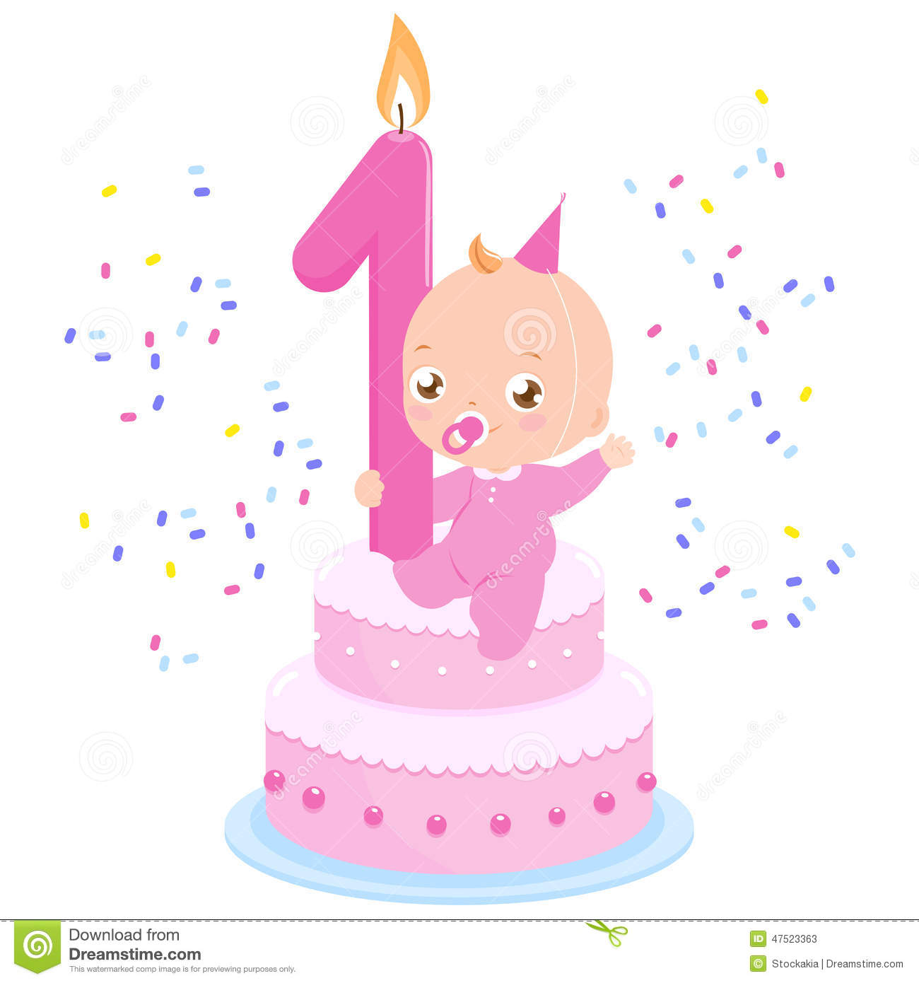 Birthday cake baby girl stock vector Illustration of greeting