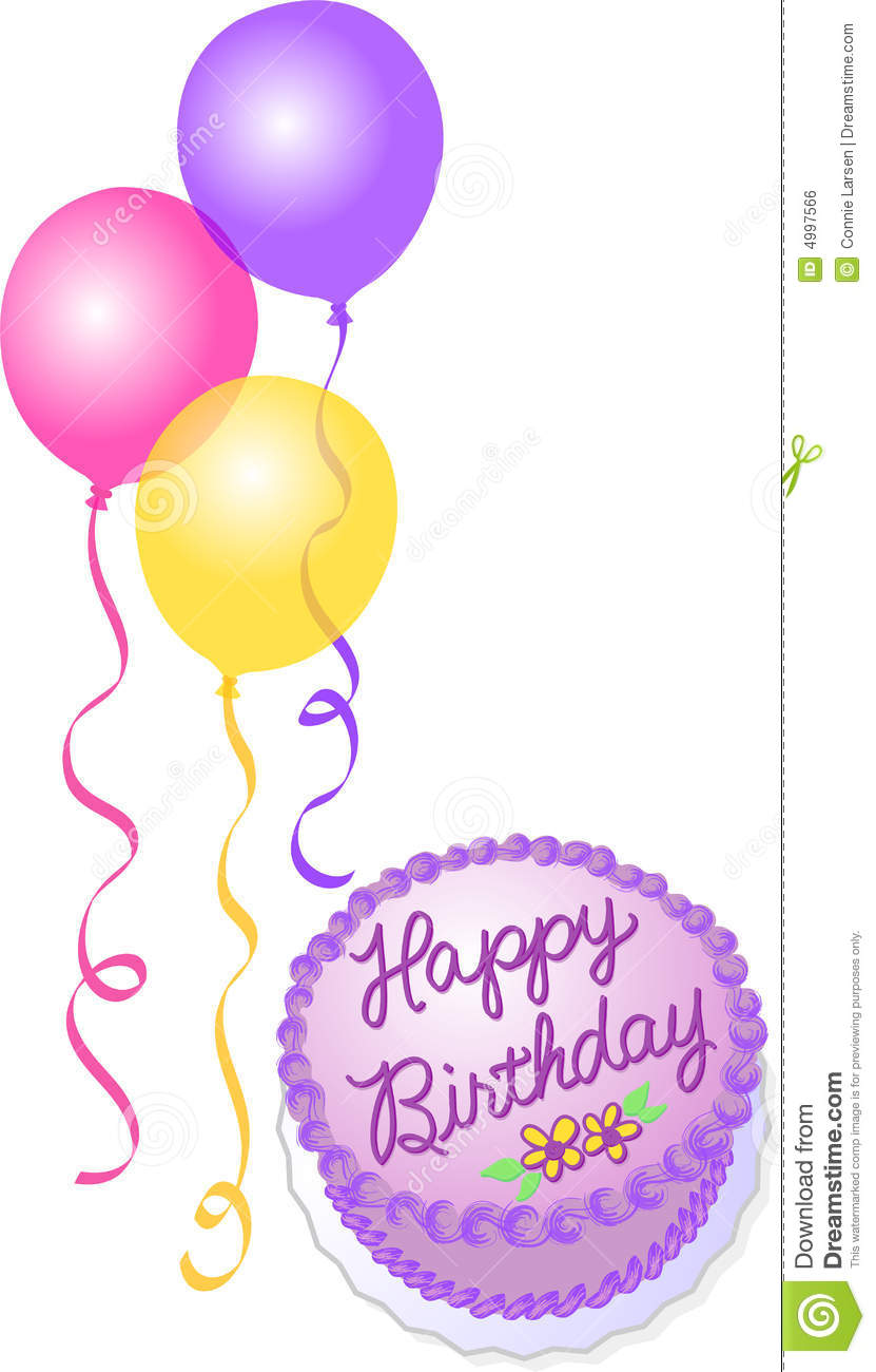 Birthday Cake And Balloons Stock Illustration