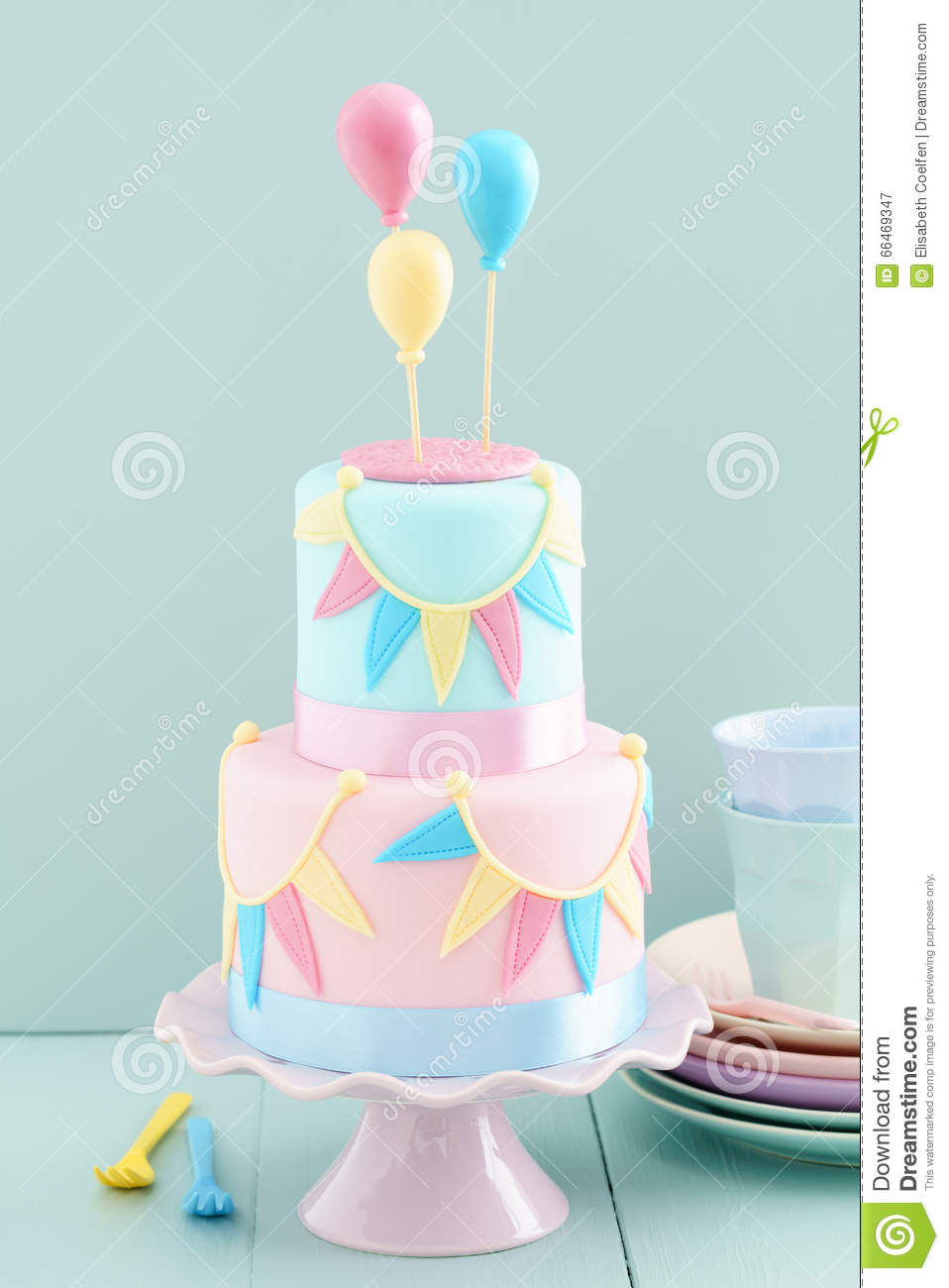 birthday cake and balloons birthday cake with balloons stock photo image 66469347 1729