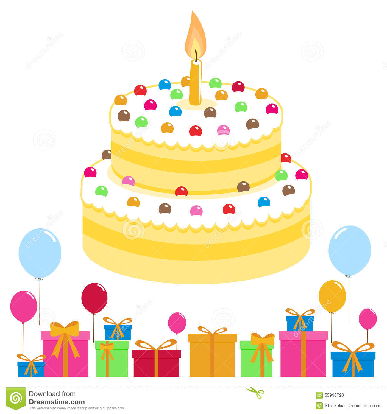 Vector Illustration Of A Birthday Cake Balloons And Boxes With Presents