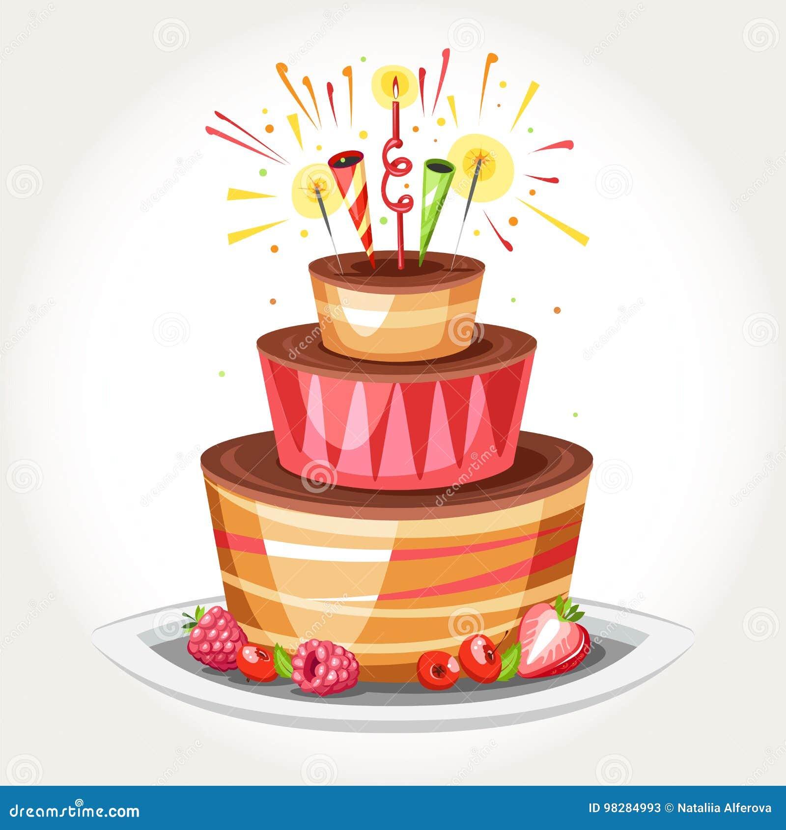 Stupendous Birthday Cake Stock Vector Illustration Of Anniversary 98284993 Funny Birthday Cards Online Bapapcheapnameinfo