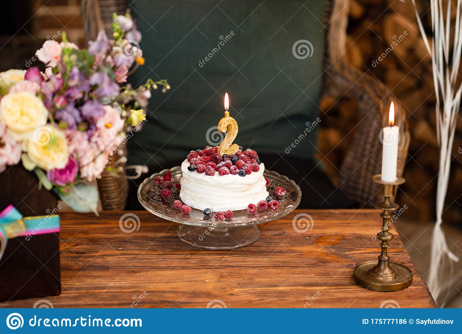 Terrific Birthday Cake Berries And Candle Second Birthday Stock Photo Funny Birthday Cards Online Eattedamsfinfo