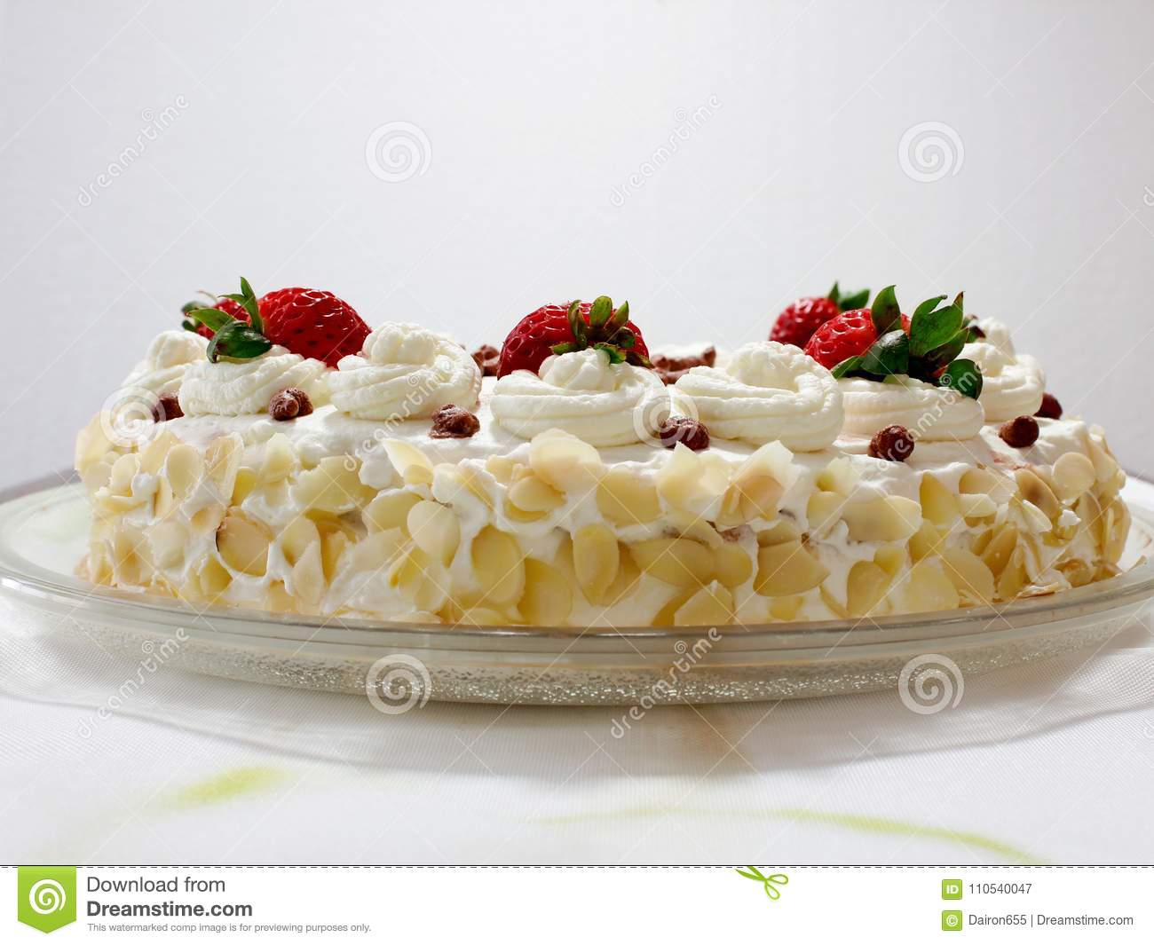 Birthday Cake With Strawberry Stock Image Image Of Diet Festive