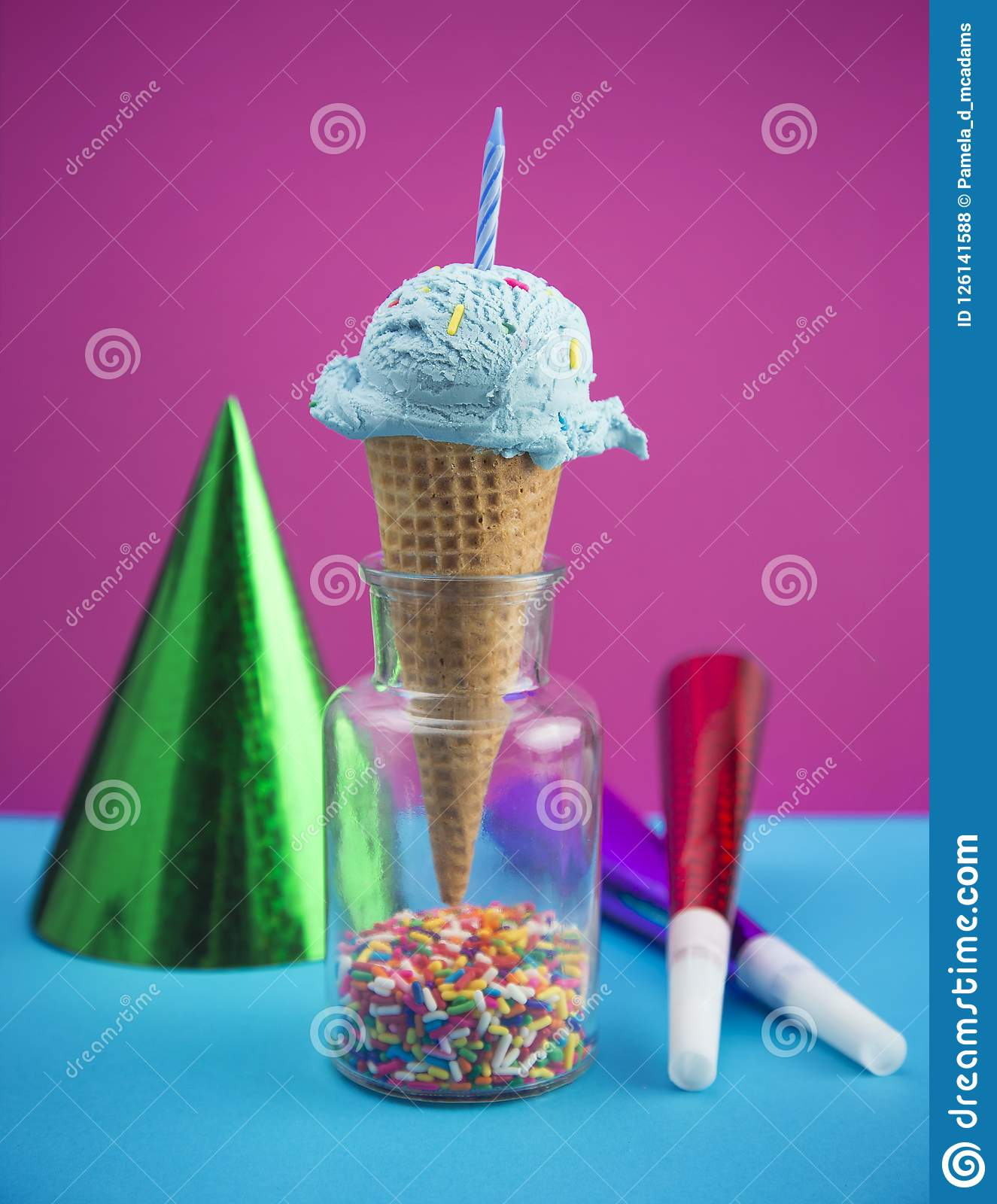 Birthday Cake Blue Ice Cream In A Waffle Cone With Hat And Horns