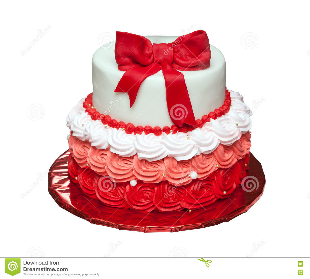 Birthday Cake With Bow On Top Isolated Stock Photo Image Of Gift