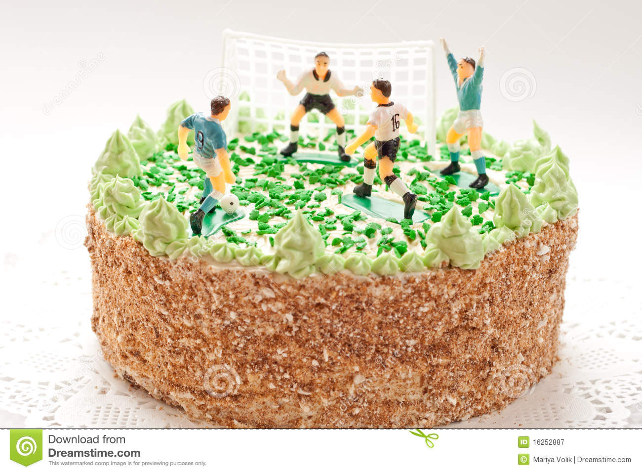 Birthday Cake For Boy With Football Players Stock Image Image Of