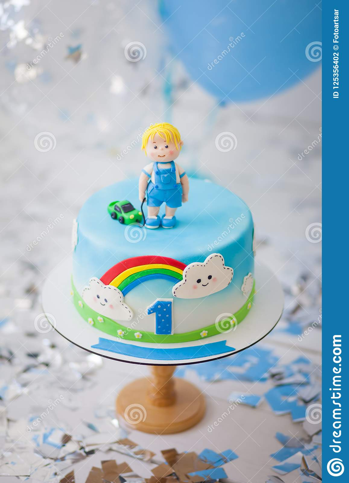 Birthday Cake For Boys.Birthday Cake For A Boy For 1 Year Stock Photo Image Of