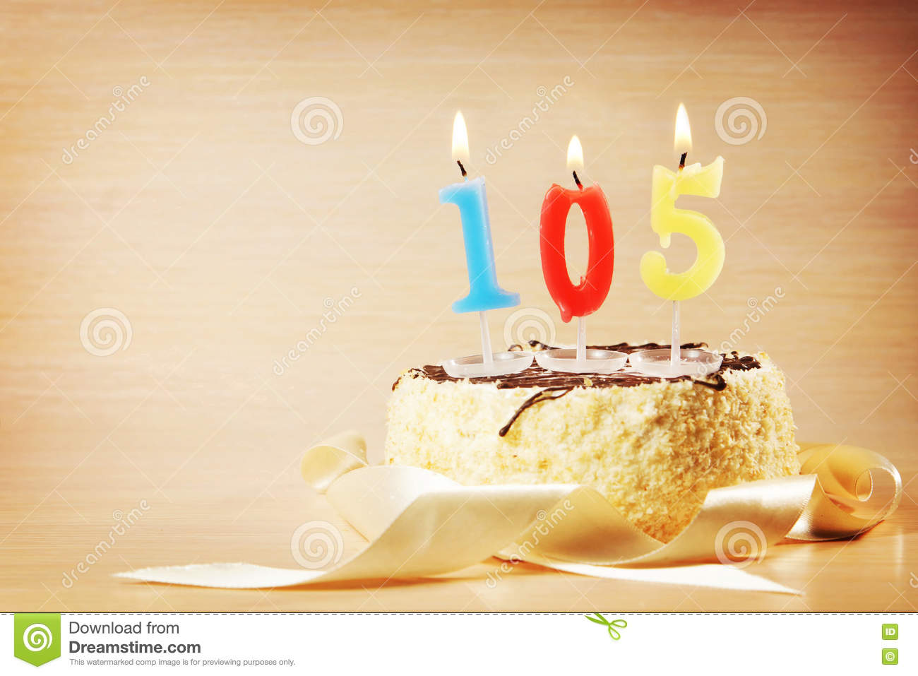 Birthday Cake With Burning Candle As A Number One Hundred And Five