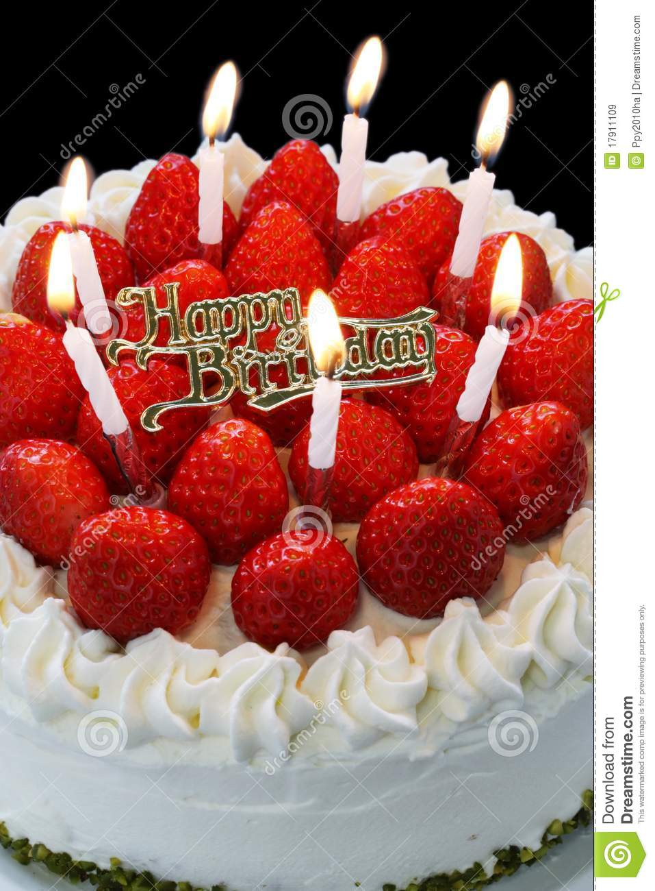 Birthday Cake With Burning Candles Stock Image Image Of Happy