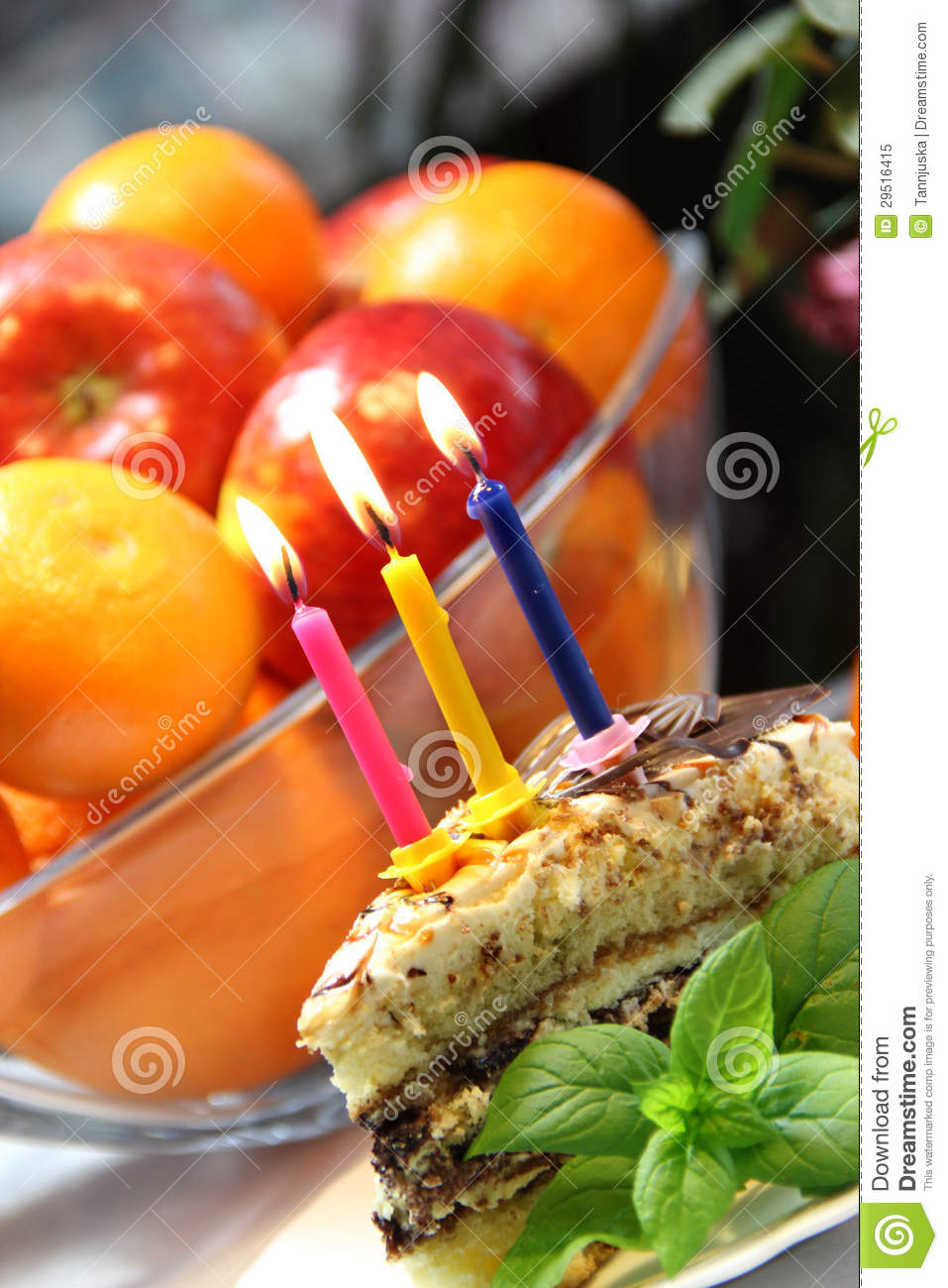 Birthday Cake With Burning Candles Royalty Free Stock