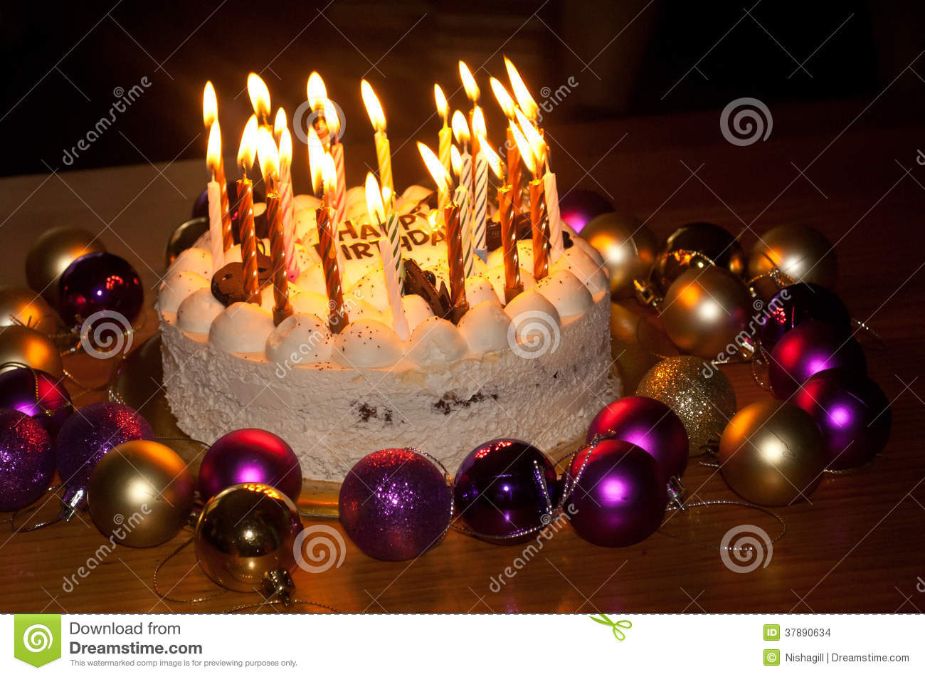 Birthday Cake With Burning Candles Stock Photo Image of party