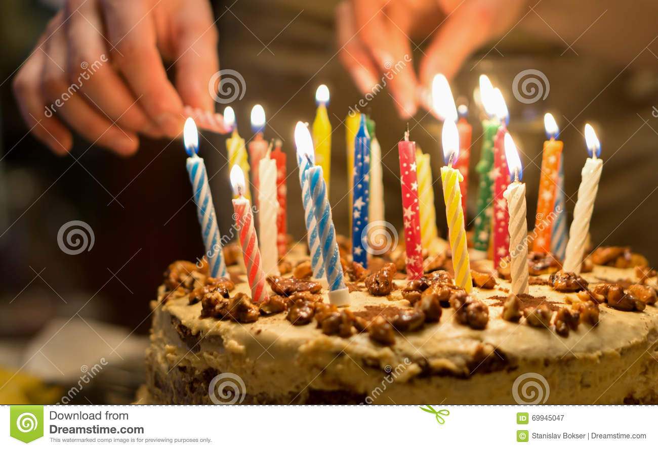Birthday Cake With Burning Candles In The Dark Stock Image