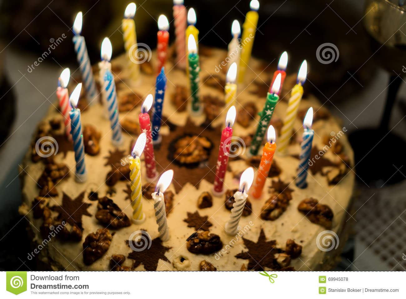 Birthday Cake With Burning Candles In The Dark Stock Photo Image