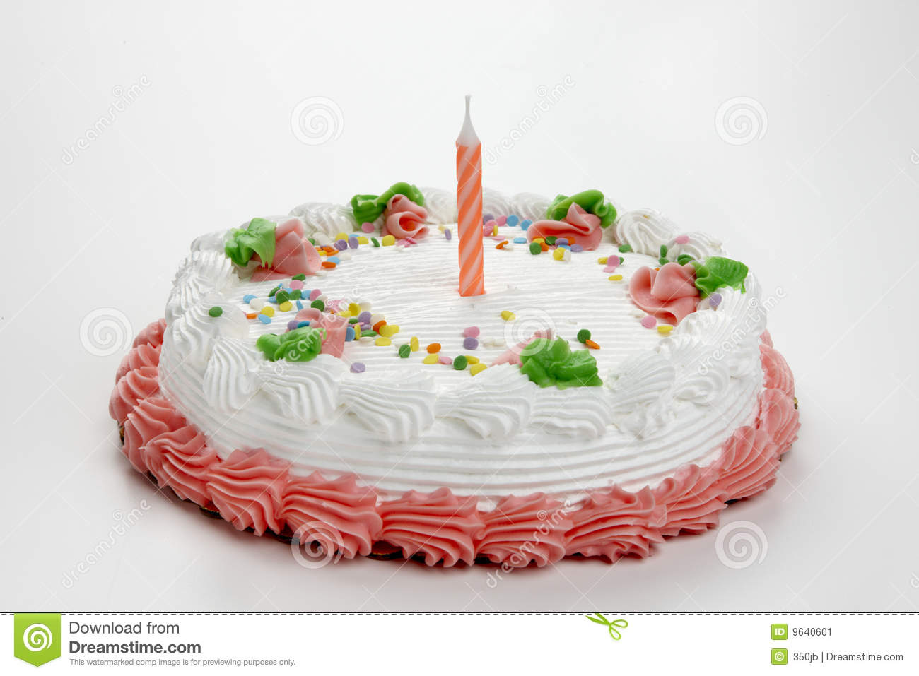 Birthday Cake With Candle Stock Image - Image: 9640601