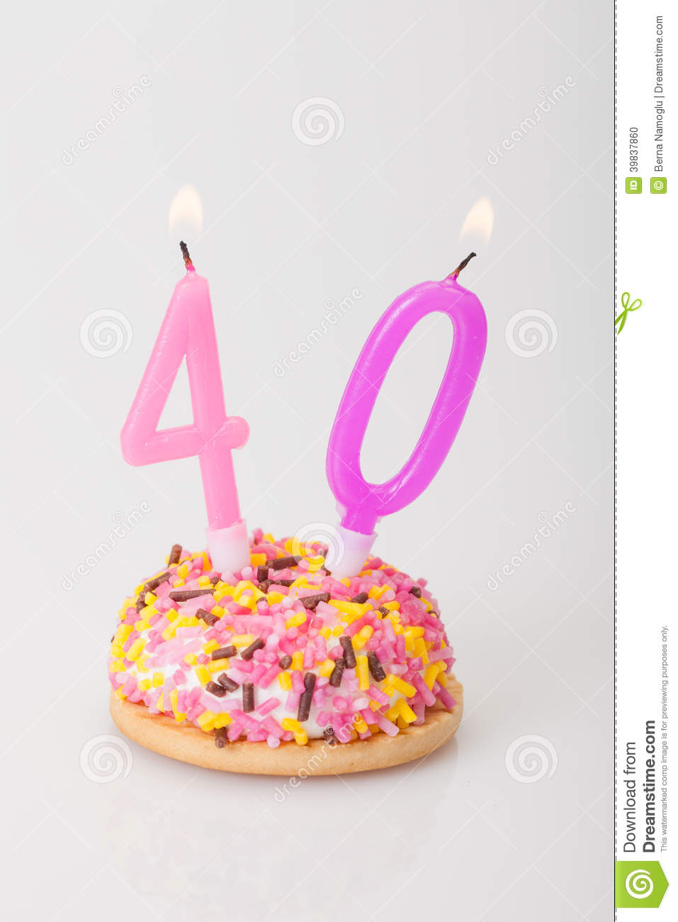 Birthday Cake And Candle For Age 40