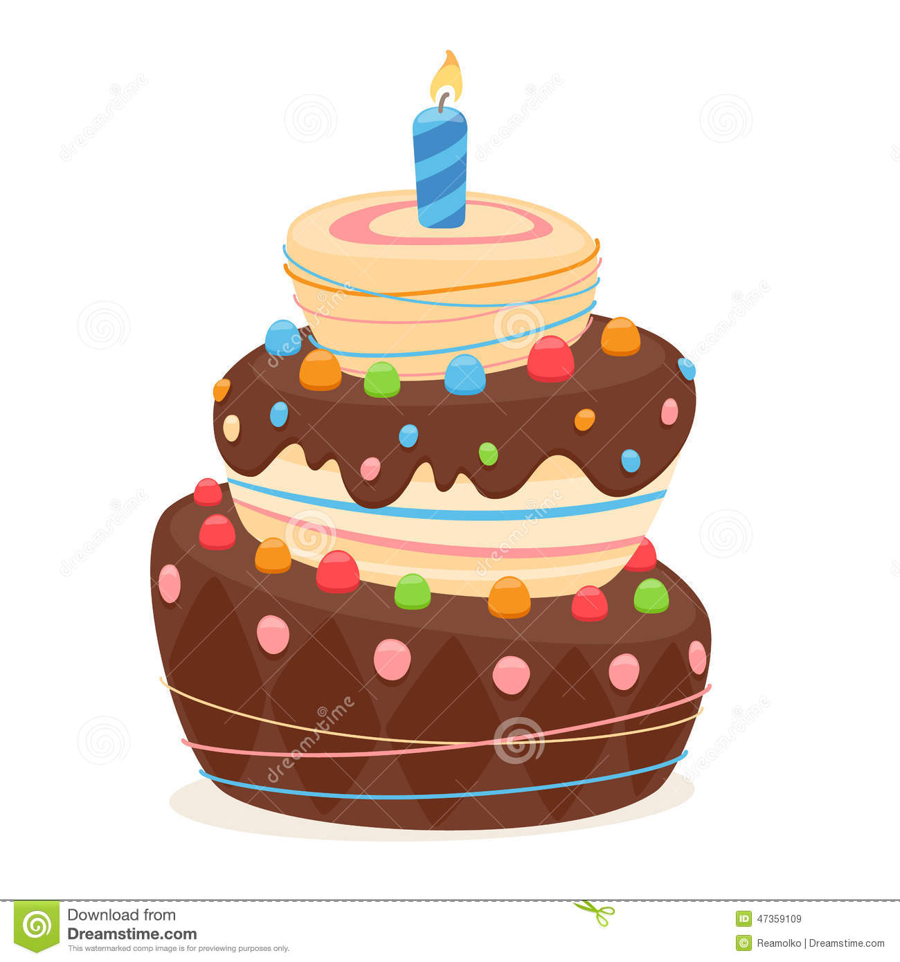 Cake With Icing Vector : Birthday Cake With Candle And Chocolate Frosting. Stock ...