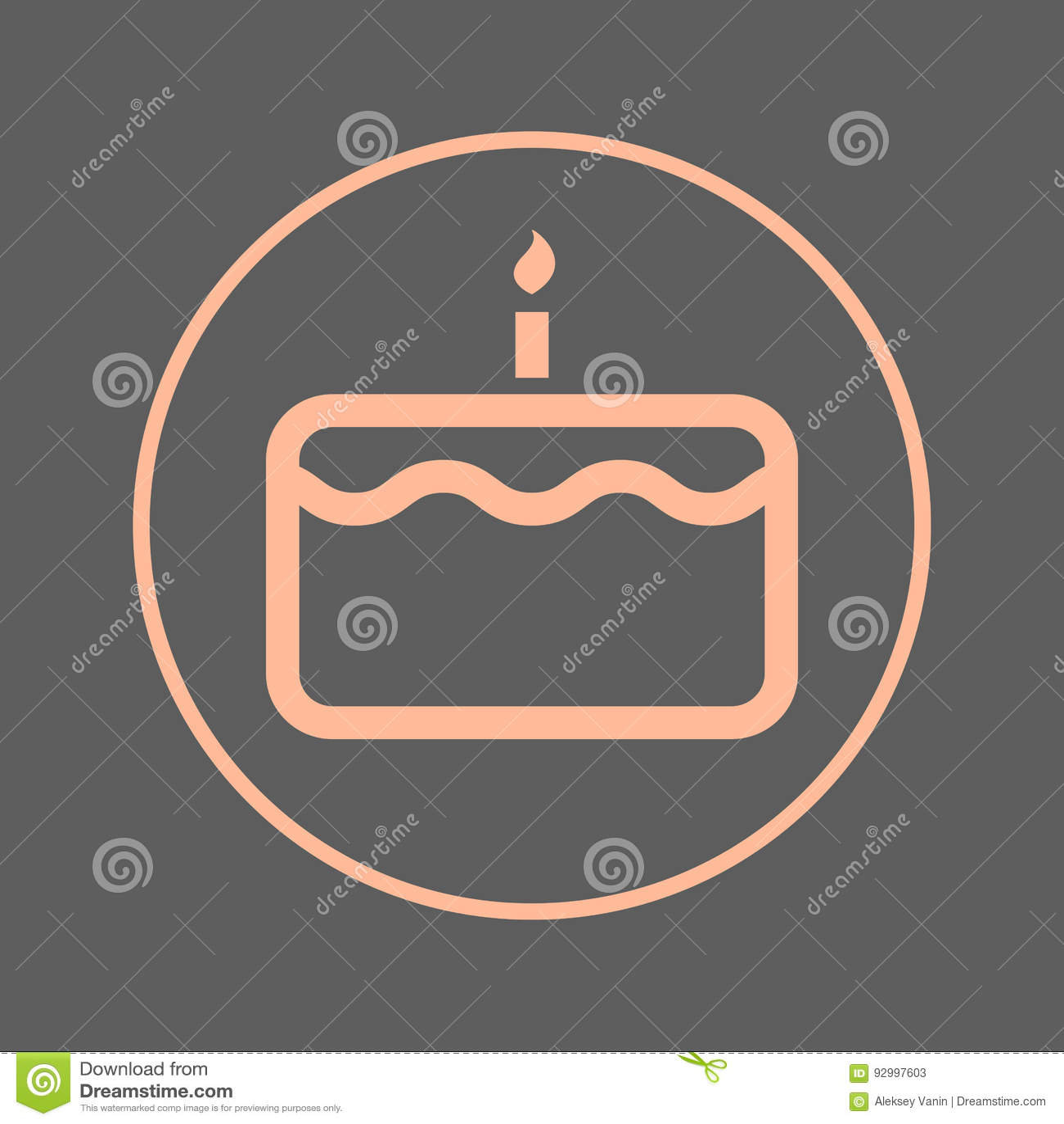 Birthday cake with candle circular line icon round colorful sign birthday cake with candle circular line icon round colorful sign flat style vector symbol biocorpaavc