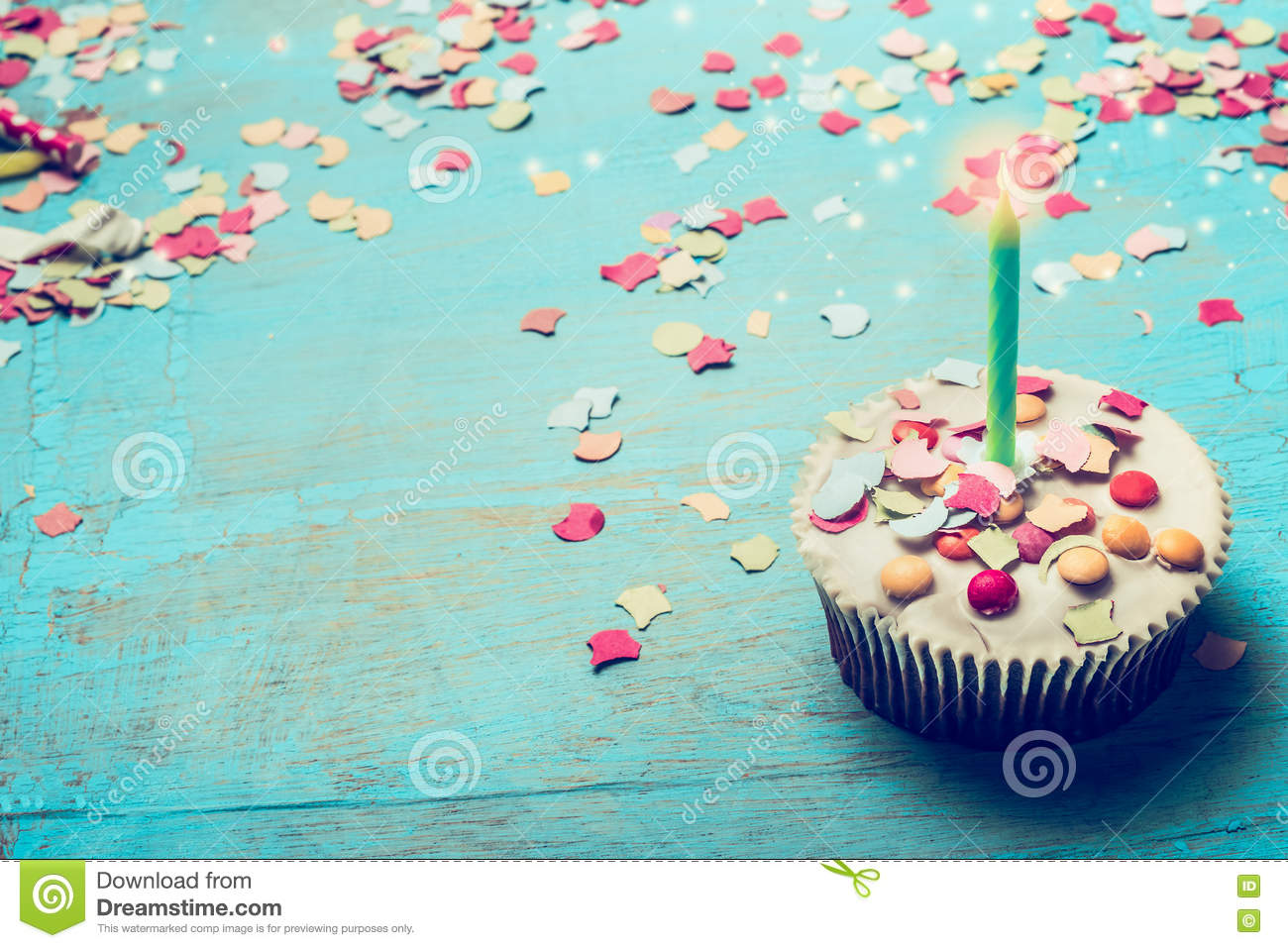 Download Birthday Cake With Candle And Confetti On Turquoise Blue Shabby Chic Wooden Background Stock