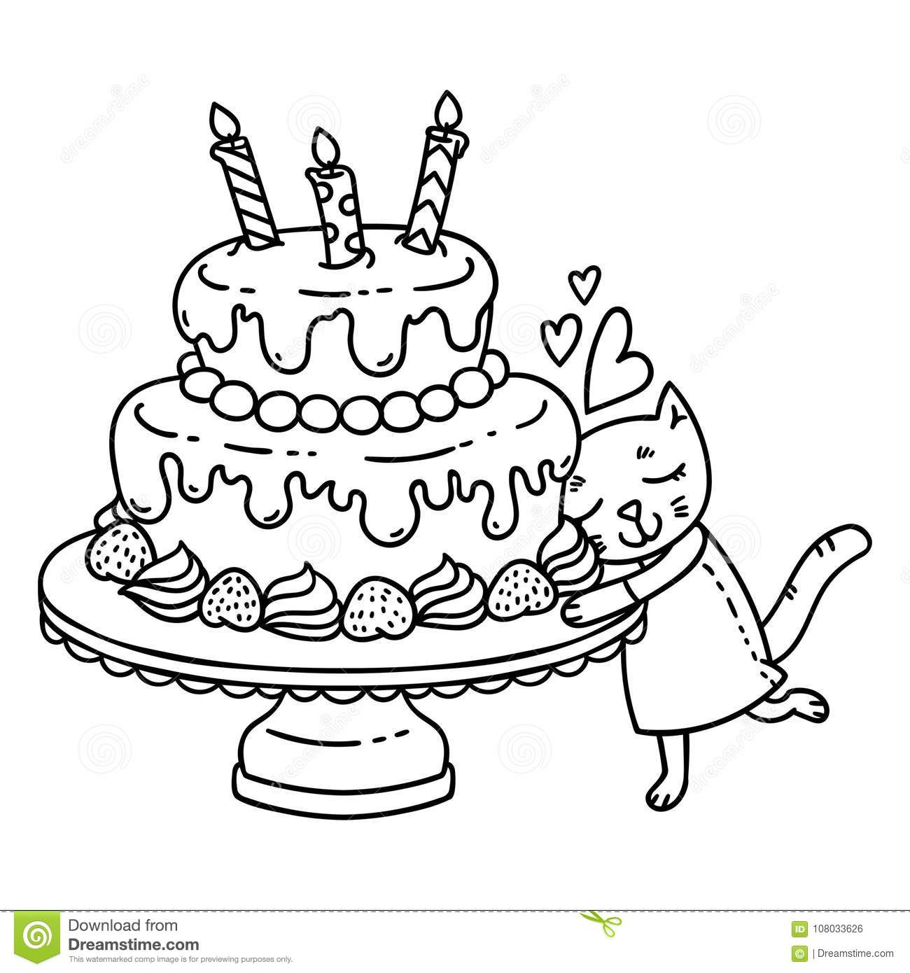 Birthday Cake With Candle And Cute Cat Isolated Objects On White Background Vector Illustration Coloring Page