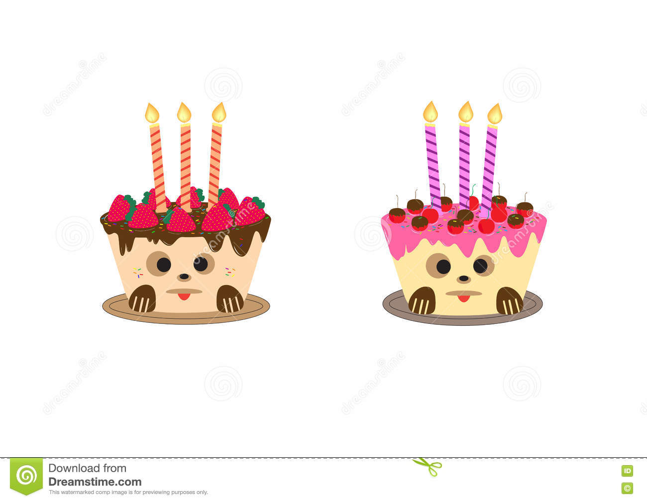 Birthday Cake With Candle Designed For Happy Birthday Greeting Card