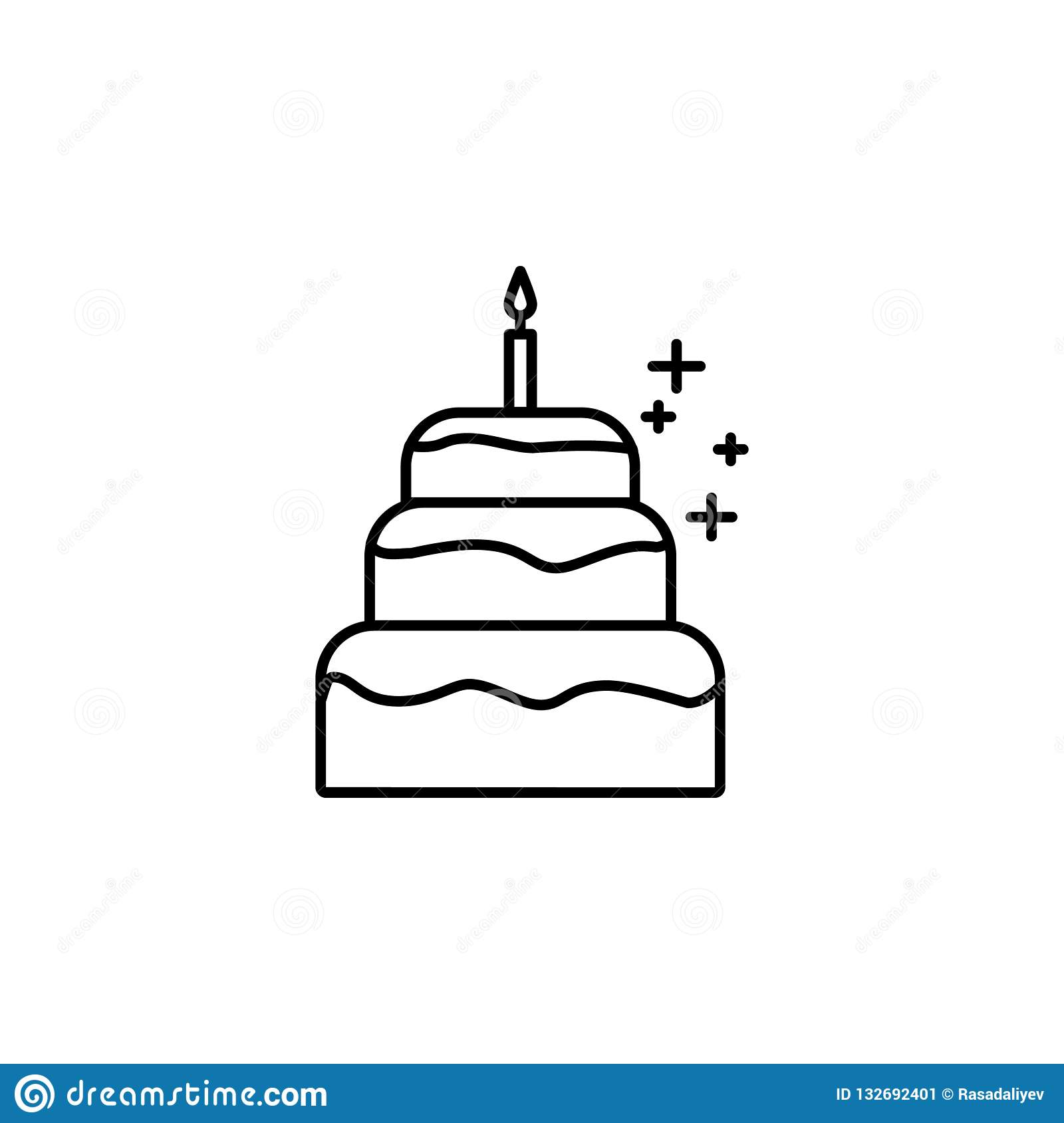 Birthday Cake With A Candle Icon Element Of New Year Oarty Outline Thin