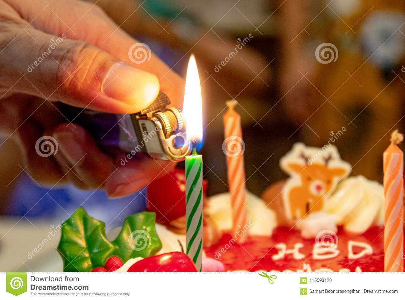 Birthday Cake At Candle Light Stock Photo Image Of Other Cheese